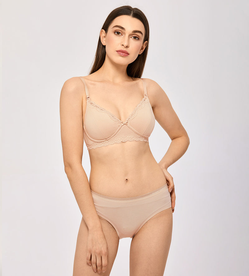Lace Trim Wirefree Nursing Bra