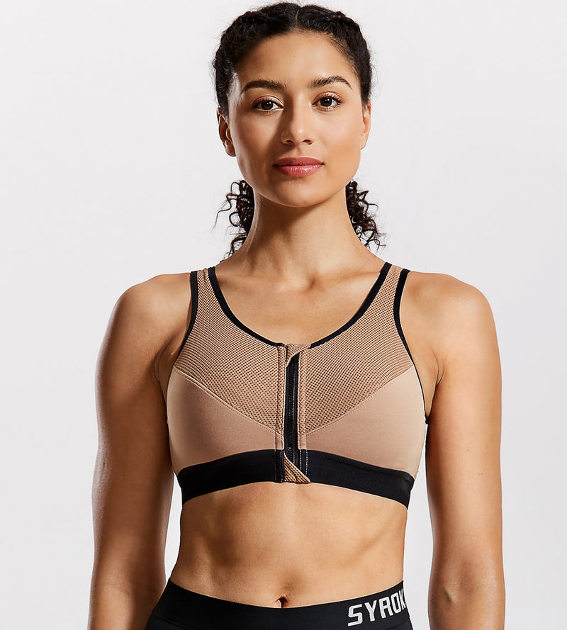 Cross Back Support Front Zip Sports Bra