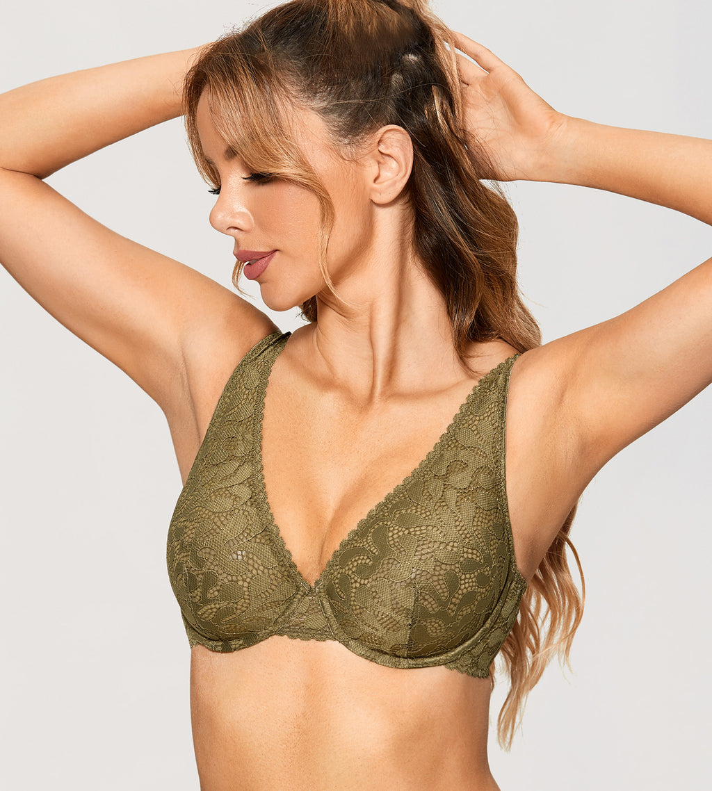 CACTUS Triangle Deep V Unlined Bra