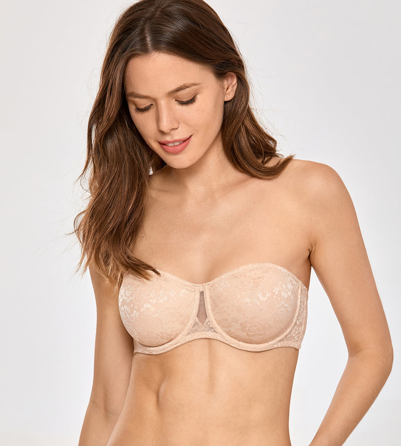 Floral Lace Unlined Strapless Bra