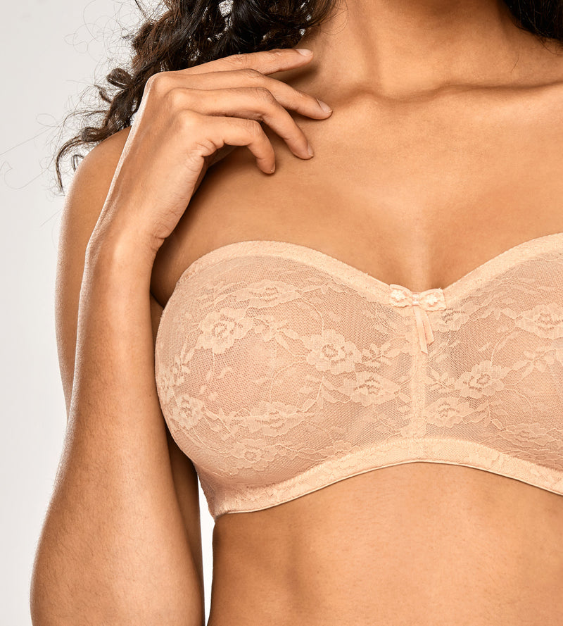 See-through Underwire Strapless Lace Bra