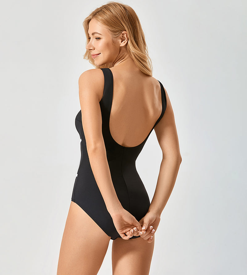 Striped Plus Size One Piece Swimsuit