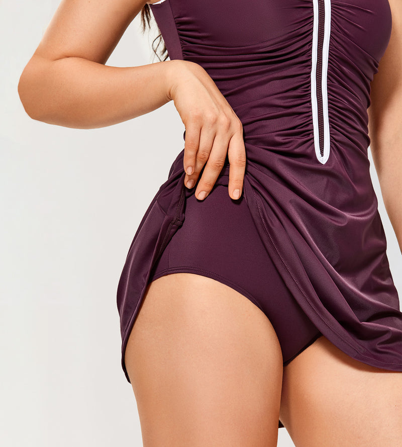Zip Front Skirted Bathing Suits Swimdress