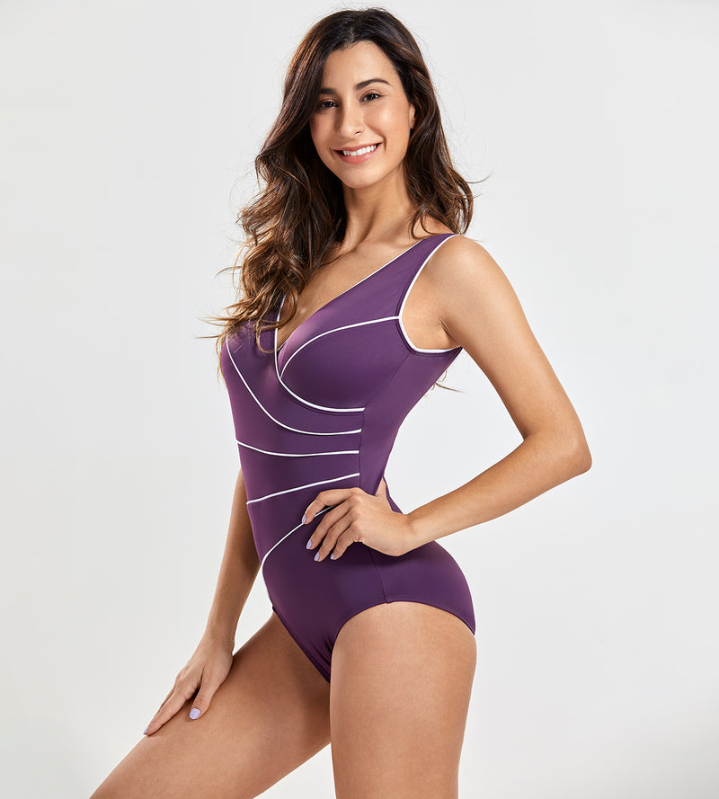 One Piece Piped Swimsuit Plus Size