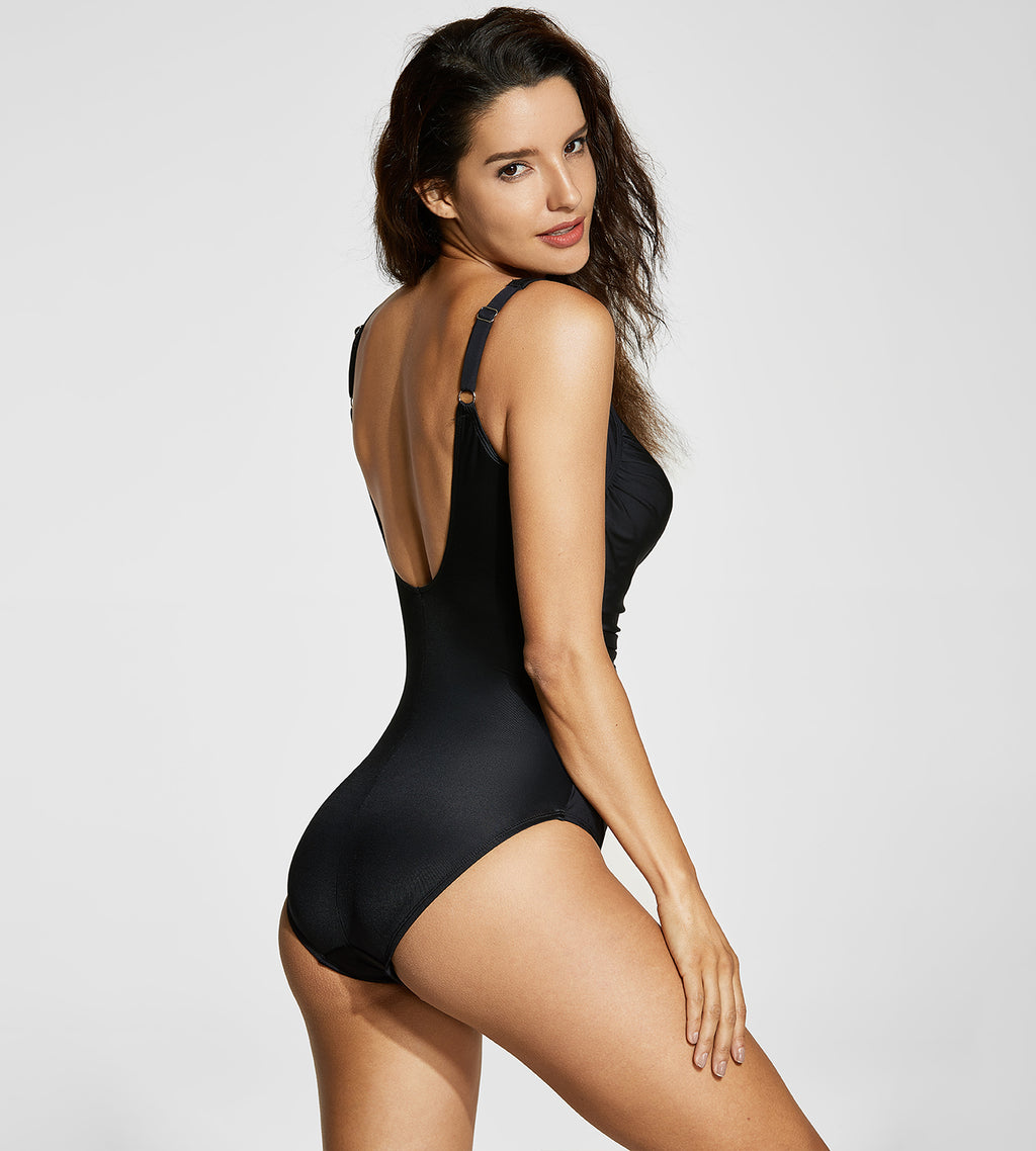 Ruched Vintage One Piece Swimsuit
