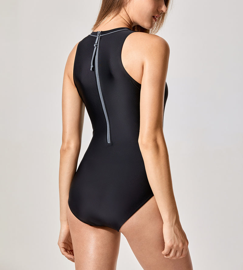 Printed High Neck One Piece Swimsuit