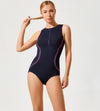 Front Zip Printed Bathing Suit