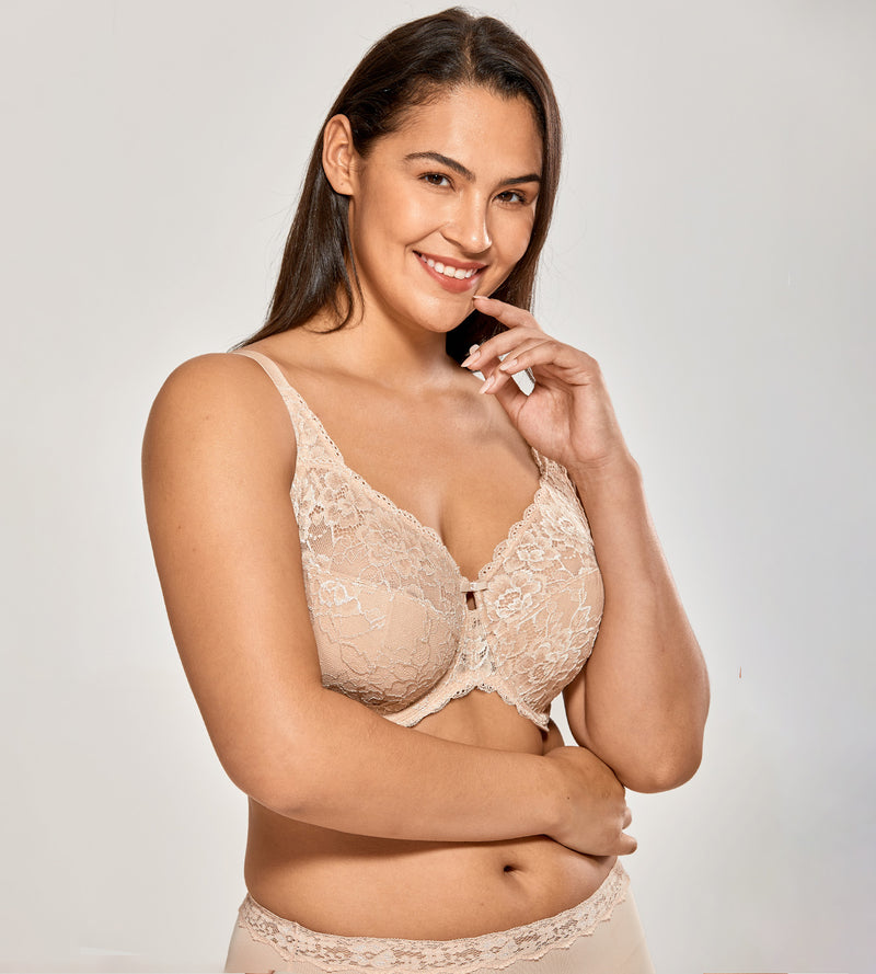 Sheer Lace Unlined Minimizer Underwire Bra