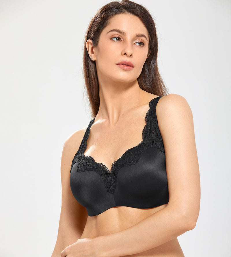 Lace Trim Underwire Balconette Bra