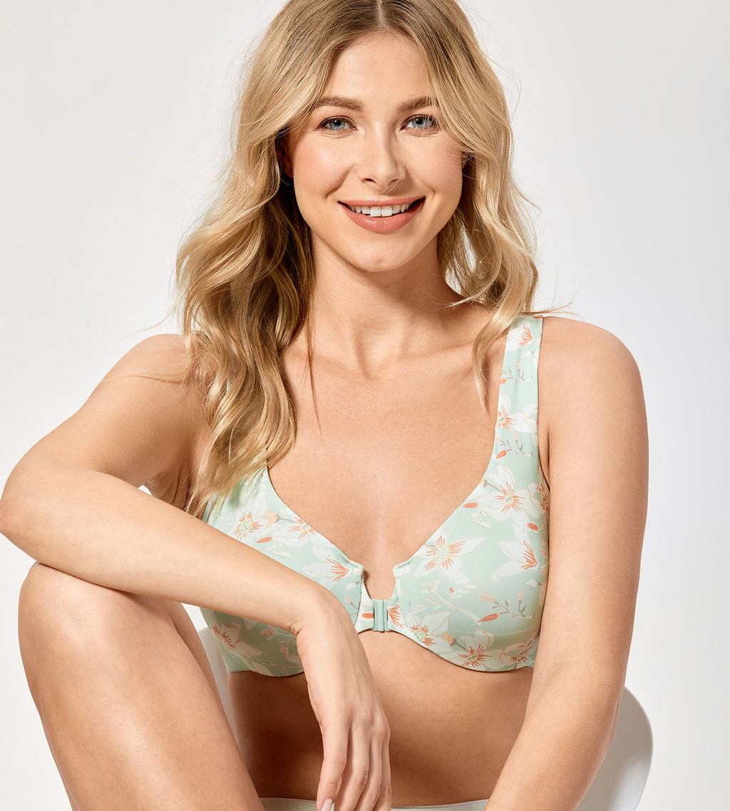 Printed Underwired Front Closure Bra