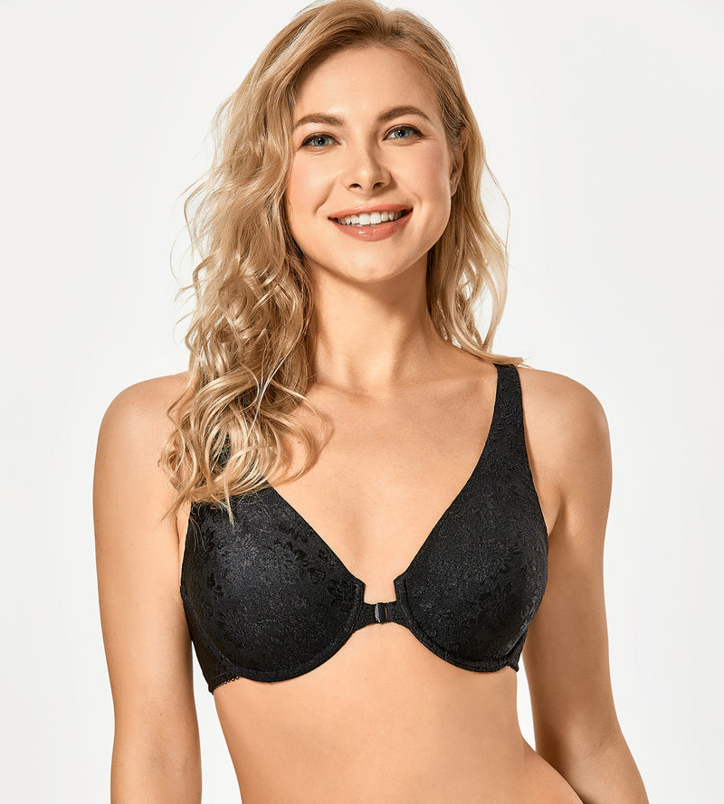 Jacquard Unlined Front Closure Bra