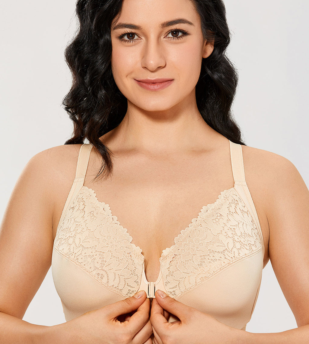 Lace Front Closure Underwired Bra
