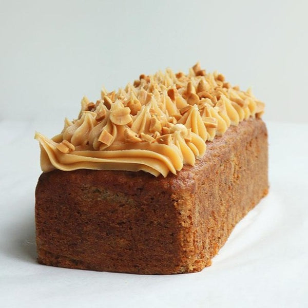 BANANA MUSCOVADO LOAF WITH PEANUT BUTTERCREAM