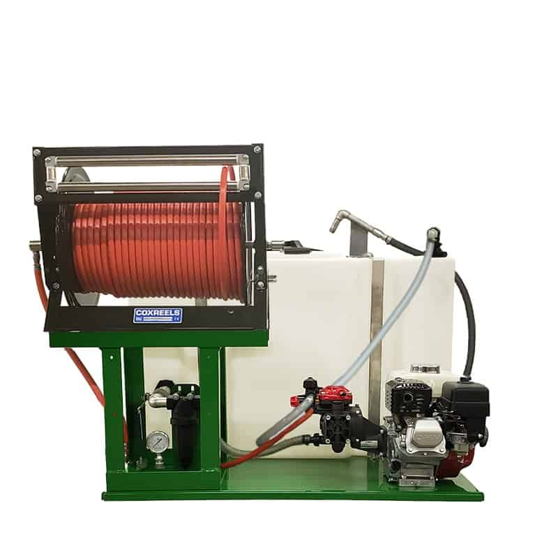 100 gal sprayer w/ AR252 Pump, Honda GX120 engine and  3/8″ Hose (Manual Reel)
