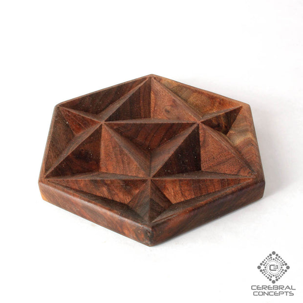 Asanoha - Carved Wood Tray - By Cerebral Concepts