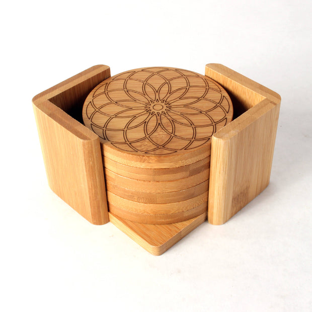 Geometer's Delight - Round Bamboo Coaster Set