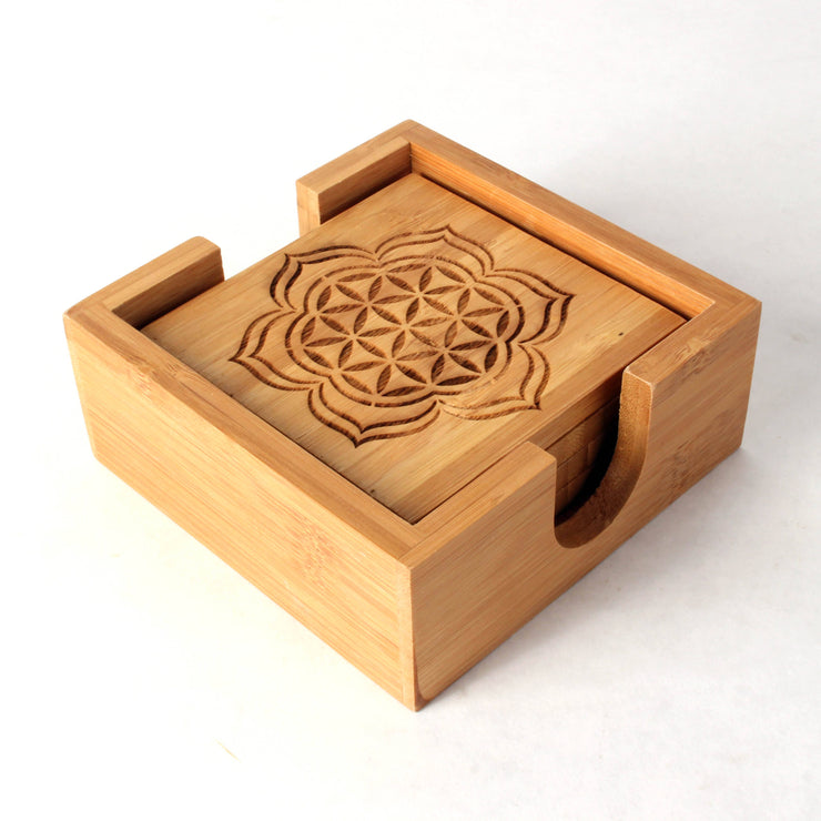 Blooming Seed - Bamboo Coaster Set - 4-
