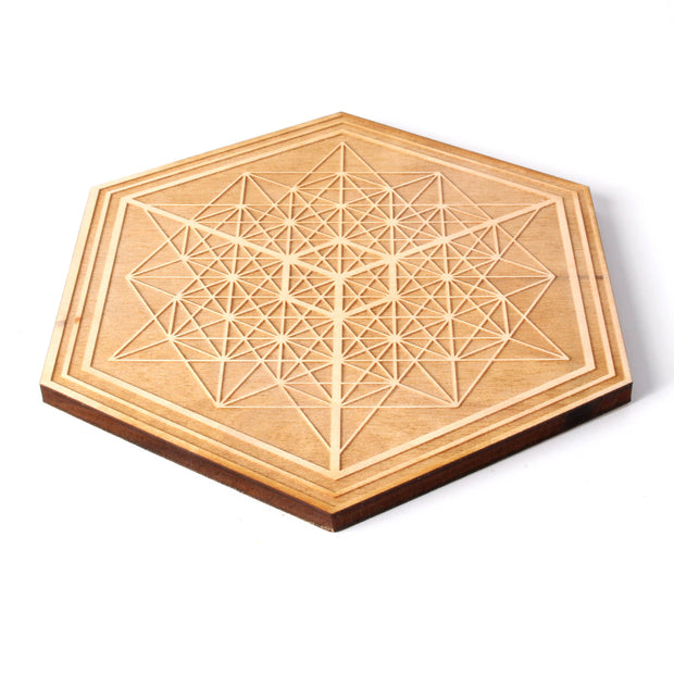 Tantalizing Tetrahedron - Wooden Crystal Grid - Coaster - By Decah