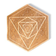 Endless Icosahedron - Wooden Crystal Grid -  Coaster - By Decah