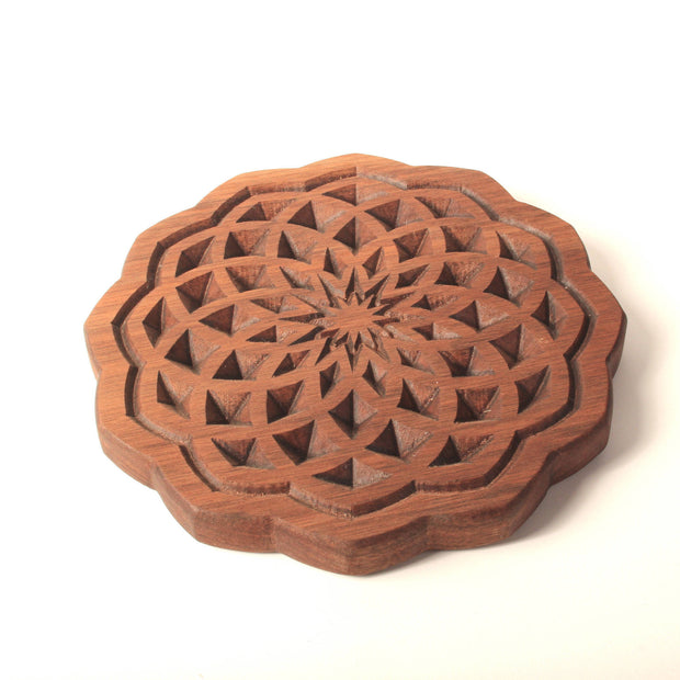 Spiral Flower  - Carved Wood Tray - By Cerebral Concepts