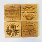Shattered Shapes - Bamboo Coaster Set