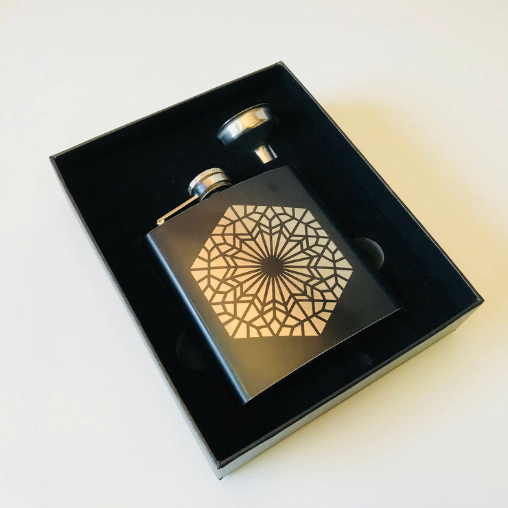 Geomental - Black Stainless Steel Flask - Design by DECAH - Sacred Geometry