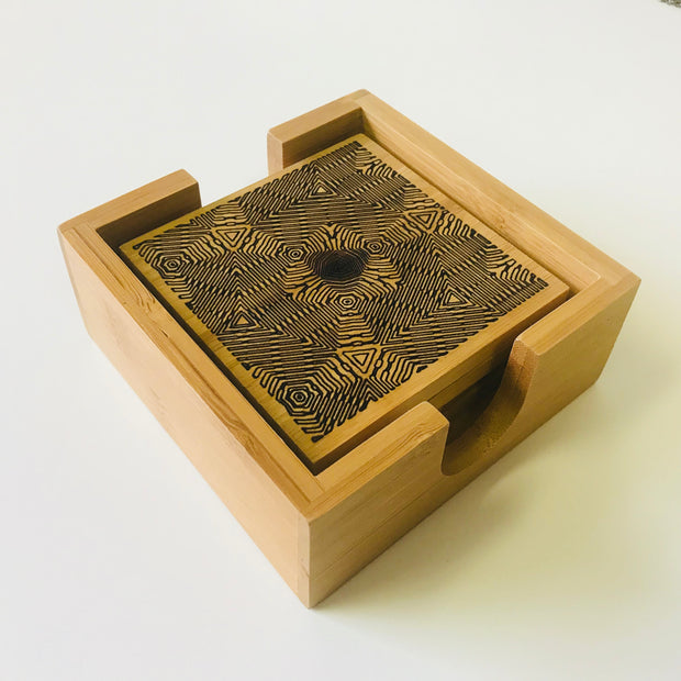 Optic Triangulation - Bamboo Coaster Set - By Cassady Bell