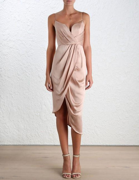 Elegant empire waist sexy strapless strap satin dress