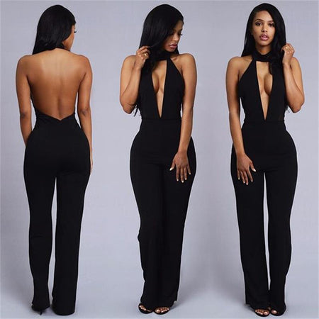 Sexy Jumpsuits Deep V-neck Backless
