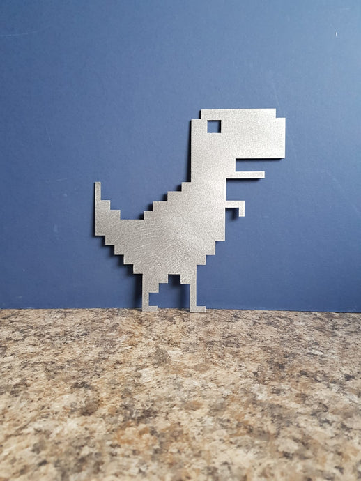 8-bit dinosaur sign metal plaque decoration