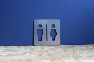 unisex toilet metal sign