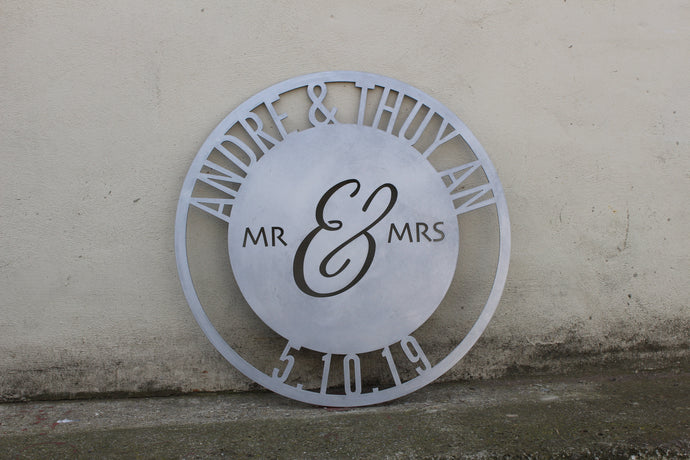 Custom Metal Mr and Mrs Wedding Date Personalised Sign