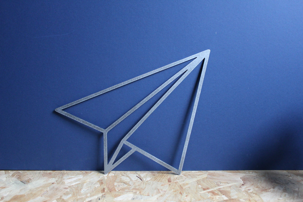 metal paper aeroplane sign