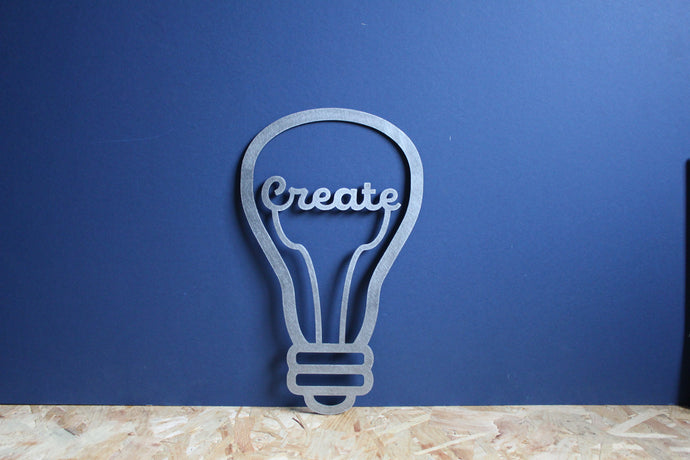 create lightbulb metal sign