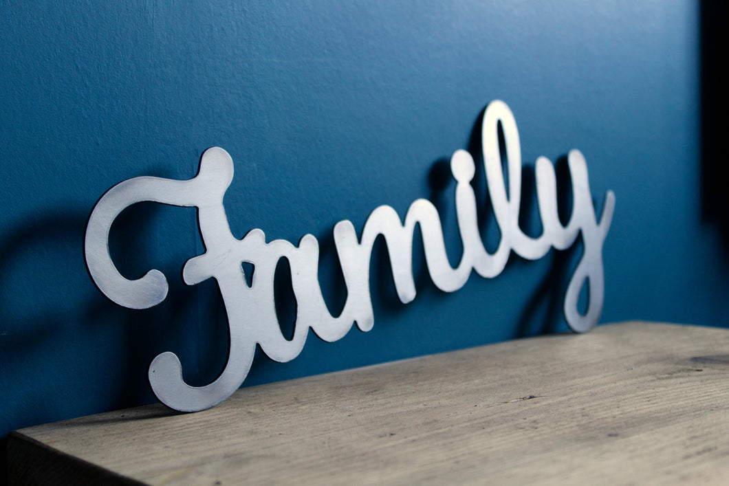 metal family word metal sign