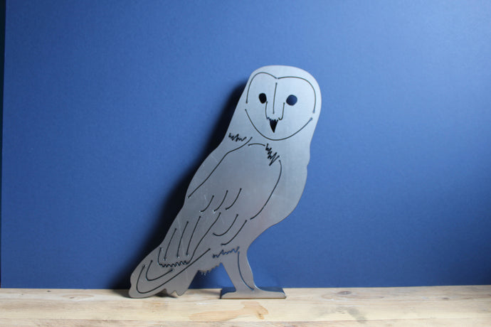 Barn Owl Freestanding Metal plasma cut art