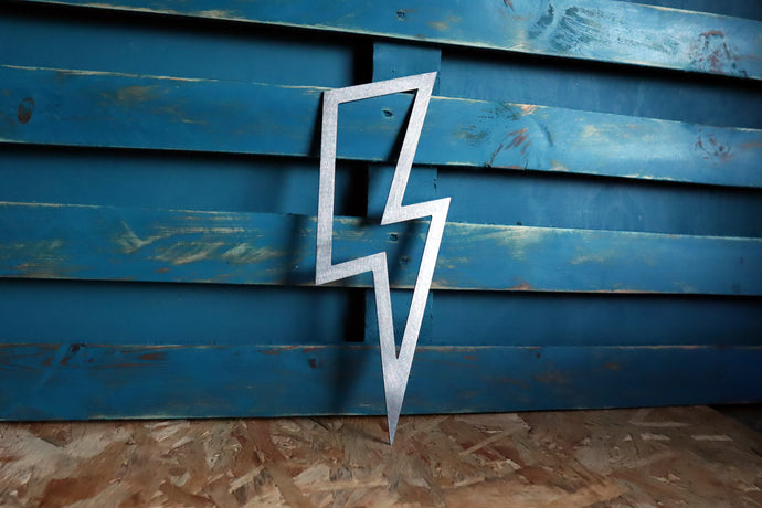 lightening bolt plasma cut metal sign
