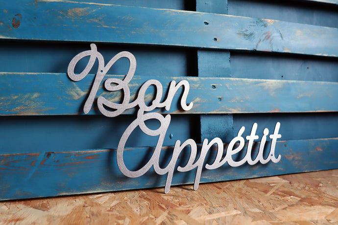 bon appetit metal CNC cut word sign
