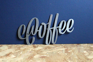 coffee metal plasma cut word sign