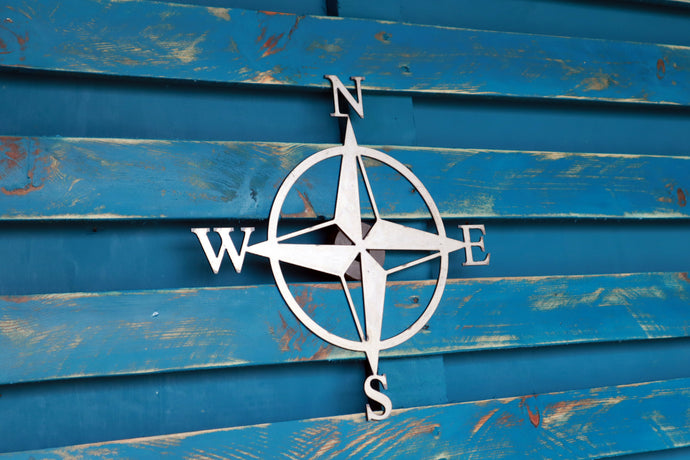 compass sign metal garden art