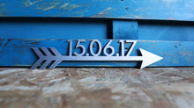 Load image into Gallery viewer, custom date arrow metal sign home decor