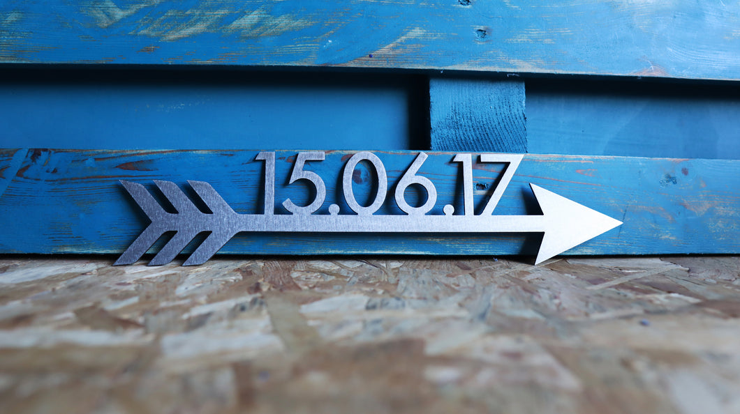 custom date arrow metal sign home decor