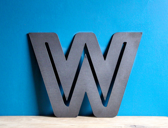 large metal letter W plasma cut
