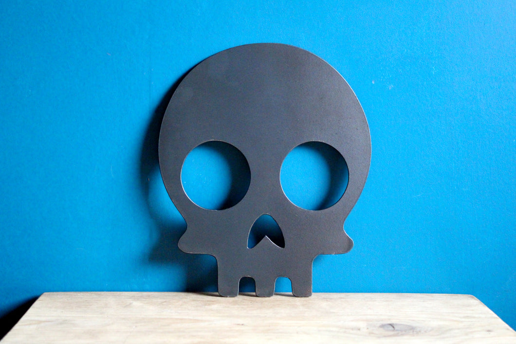 skull plasma cut metal sign