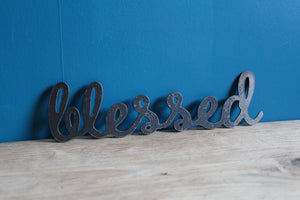 blessed metal plasma cut word sign
