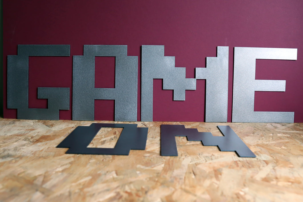 Large Metal Letter 8-Bit Gamer Font