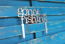 Load image into Gallery viewer, gone fishing metal sign