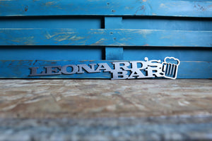 personalised metal bar sign
