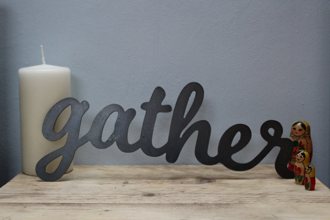 gather metal word sign