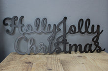 Load image into Gallery viewer, holly jolly christmas metal sign